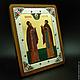 Икона святых Петра и Февронии в серебре с эмалью и камнями