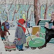 Картины и панно ручной работы. Ярмарка Мастеров - ручная работа Миниатюра 60-е. Handmade.