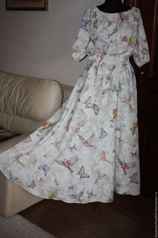 """Платья ручной работы. Ярмарка Мастеров - ручная работа. Купить Платье """"Птички"""" маленький размер. Handmade. Бежевый, птички"""