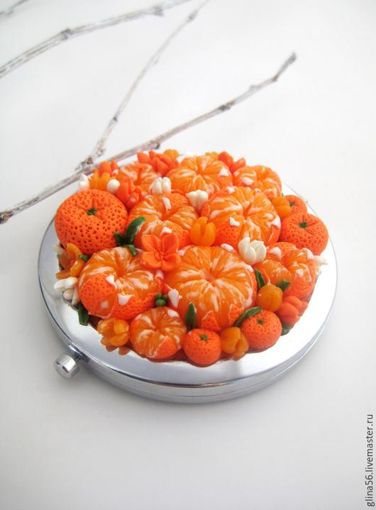 Декорированные зеркальца ручной работы. Ярмарка Мастеров - ручная работа. Купить Мандаринки ........... Handmade. Оранжевый, мандарины, зеркальце подарок девушке