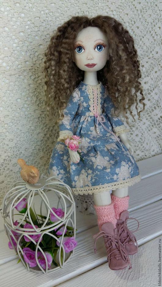 Коллекционные куклы ручной работы. Ярмарка Мастеров - ручная работа. Купить Текстильная кукла Настя. Handmade. Голубой, интерьерная игрушка