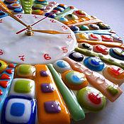 """Для дома и интерьера ручной работы. Ярмарка Мастеров - ручная работа Часы настенные """"Колесо Фортуны"""", фьюзинг. Handmade."""