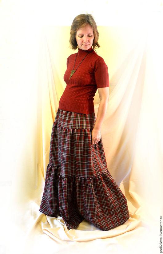 """Юбки ручной работы. Ярмарка Мастеров - ручная работа. Купить Юбка """"Осень в Шотландии"""", клетчатая,длинная,осенняя,зимняя,в пол. Handmade."""