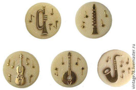 Для украшений ручной работы. Ярмарка Мастеров - ручная работа. Купить Винтажный кабашон музыкальные инструменты 18мм. Handmade. Комбинированный