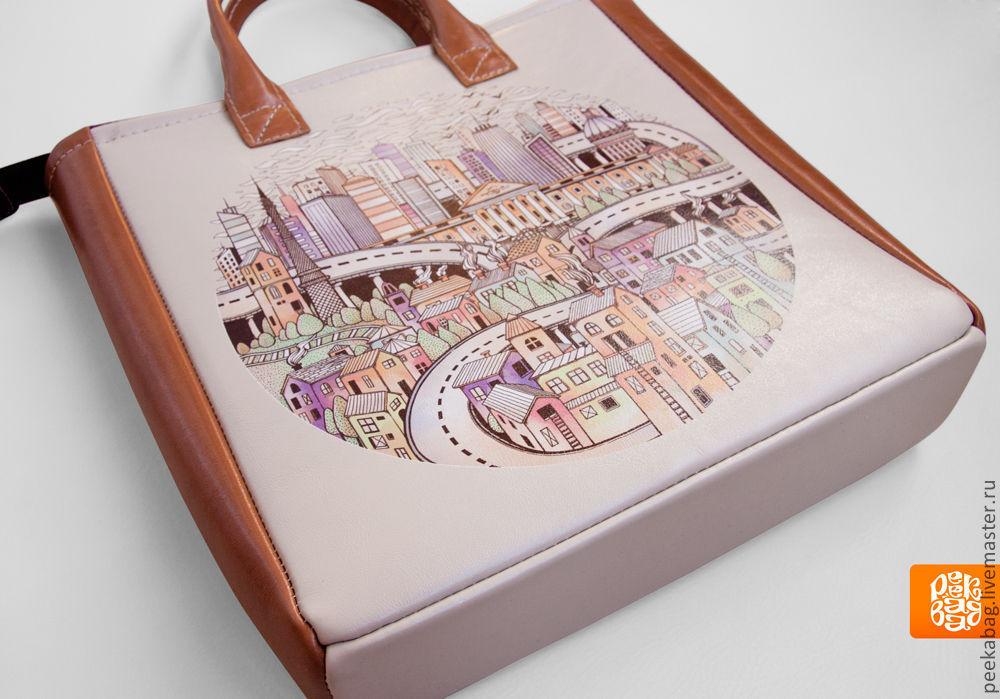 cc266424c78c Кожаная женская сумка Купить кожаную сумку. Сумка с принтом. Город, домики
