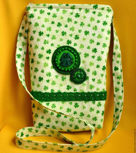 ирландия, день святого Патрика, сумка женская, сумка через плечо, небольшая сумочка, кельтика, кельты, сумочка для прогулок, сумка на длинном ремешке, сумка из ткани, женская небольшая сумочка, сумка