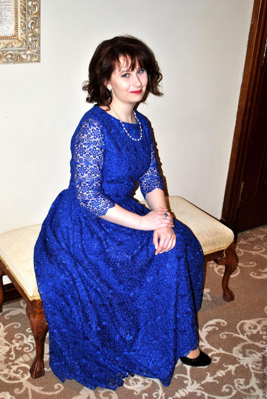 синее платье кружевное фото