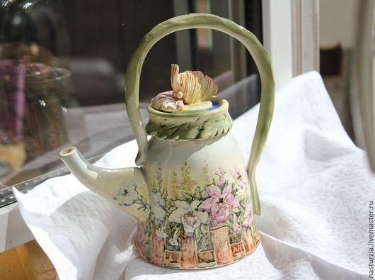 Чайники, кофейники ручной работы. Ярмарка Мастеров - ручная работа. Купить Чайник Петунии. Handmade. Белый, полисадник, для чая, зелень