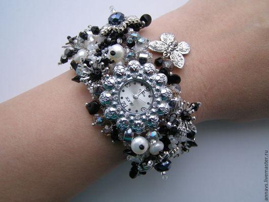 """Часы ручной работы. Ярмарка Мастеров - ручная работа. Купить Часы """"Каменный цветок"""". Handmade. Чёрно-белый, жемчуг, жемчуг"""