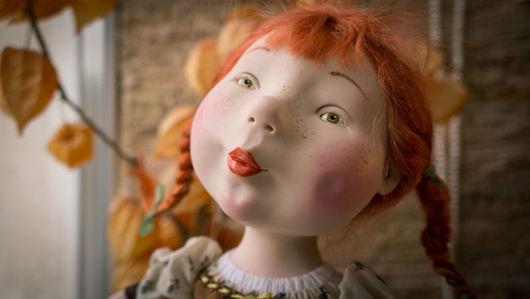 Коллекционные куклы ручной работы. Ярмарка Мастеров - ручная работа. Купить Девица с курицей. Handmade. Рыжий, paperclay