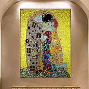 Картины и панно handmade. Livemaster - original item A bright painting in gold tones from rhinestones Gustav Klimt Kiss. Handmade.