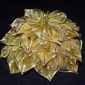 handmade. Livemaster - original item Gold bow with rhinestones. Handmade.