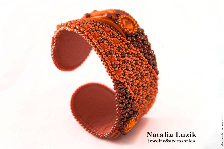 Браслет из бисера шибори Сваровски Мандариновый фреш оранжевый
