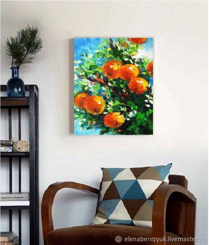 Orange Painting Kitchen Wall Art Dining Room Decor Tree Artwork