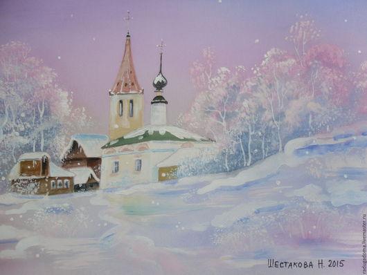 Пейзаж ручной работы. Ярмарка Мастеров - ручная работа. Купить Картина. И падал снег... Картина на шелке.. Handmade. Картина
