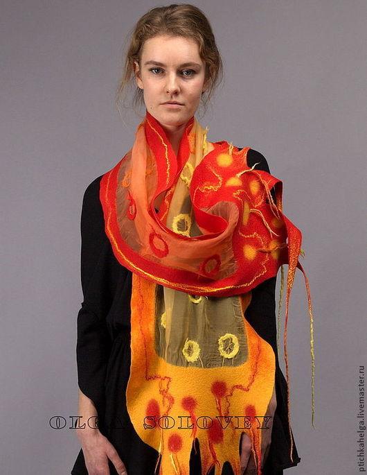 Шарфы и шарфики ручной работы. Ярмарка Мастеров - ручная работа. Купить шарф ОРАНЖЕВЫЕ КРУГИ. Handmade. Оранжевый, войлочный шарф