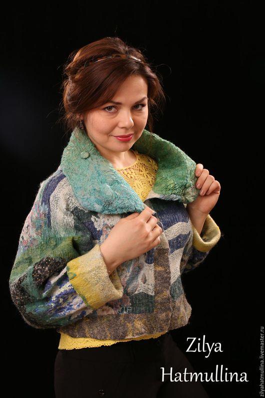 Этническая одежда ручной работы. Ярмарка Мастеров - ручная работа. Купить Валяная куртка. Синема.. Handmade. Тёмно-синий