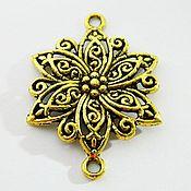 Материалы для творчества handmade. Livemaster - original item Openwork Flower connector, antique gold, 40 x 30 mm. Handmade.