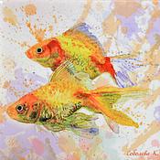 """Картины и панно ручной работы. Ярмарка Мастеров - ручная работа Картина """"Золотые рыбки"""" авторская печать - Панно с Рыбками. Handmade."""
