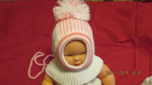 Для новорожденных, ручной работы. Ярмарка Мастеров - ручная работа. Купить шапка шлем для малышей от 0. Handmade. Белый, шерсть