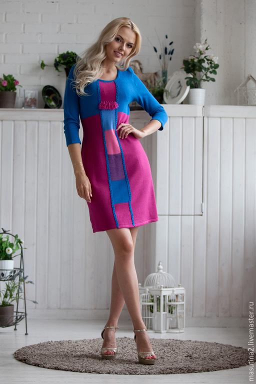"""Платья ручной работы. Ярмарка Мастеров - ручная работа. Купить Платье """"Яркий мир"""". Handmade. Сиреневый, стильное платье, полушерсть"""