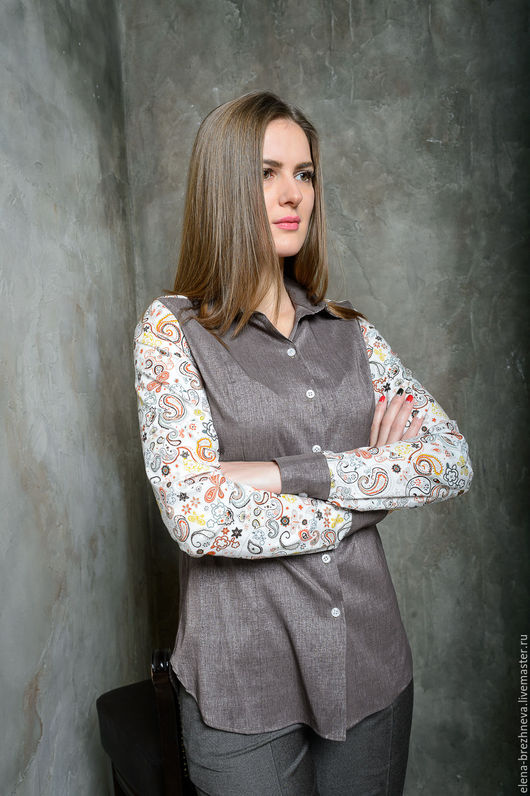 Блузки ручной работы. Ярмарка Мастеров - ручная работа. Купить Блуза женская. Handmade. Коричневый, купить в москве, индивидуальный дизайн