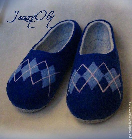 Обувь ручной работы. Ярмарка Мастеров - ручная работа. Купить Тапочки мужские. Handmade. Тёмно-синий, тапочки из войлока