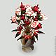 Интерьерные композиции ручной работы. Ярмарка Мастеров - ручная работа. Купить Цветок счастья из коралла в вазочке из оникса. Handmade.
