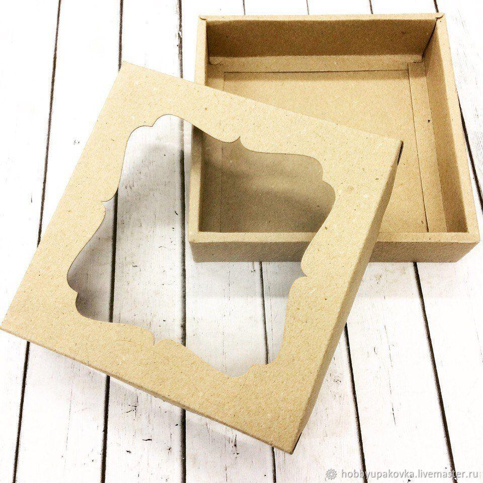 Кашпо ручной работы. Ярмарка Мастеров - ручная работа. Купить Коробка 16х16х3,5 см с окном крафт  крышка-дно. Handmade.