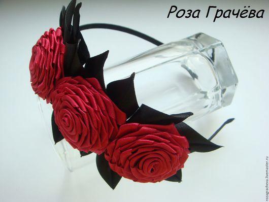 Диадемы, обручи ручной работы. Ярмарка Мастеров - ручная работа. Купить Ободок с розами, ободок для волос, ободок с цветами. Handmade.
