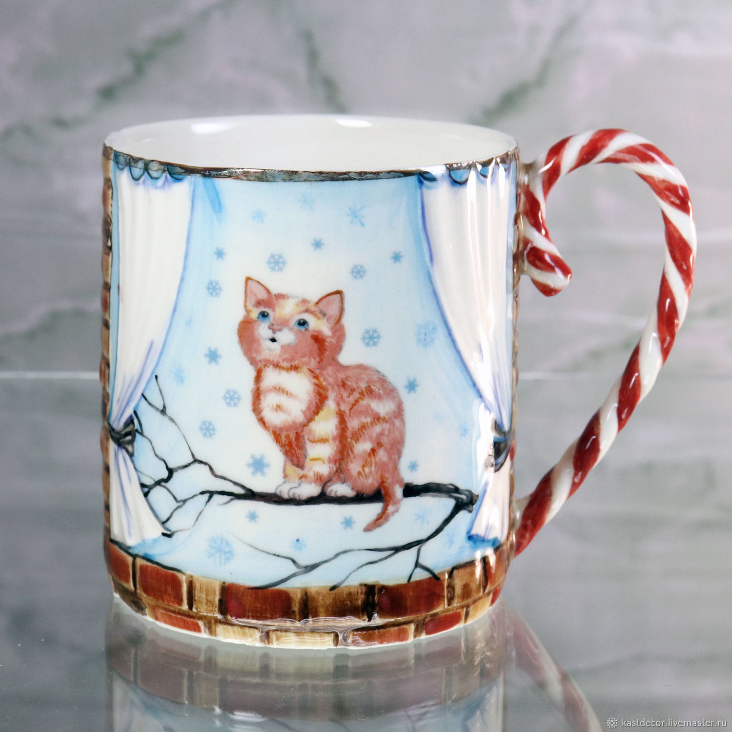 Porcelain mug 'First snow', Mugs and cups, Moscow,  Фото №1