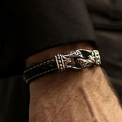 Украшения handmade. Livemaster - original item Classic bracelet made of leather and steel. Handmade.