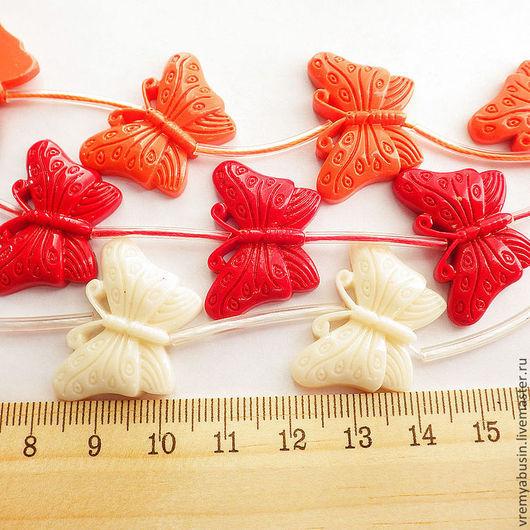Для украшений ручной работы. Ярмарка Мастеров - ручная работа. Купить 0327. Бабочка коралл прессованый. Handmade. Красный, оранжевый