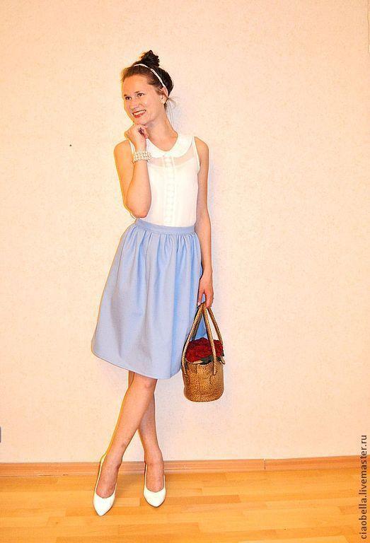 """Юбки ручной работы. Ярмарка Мастеров - ручная работа. Купить Юбочка """"Helene"""". Handmade. Голубой, голубая юбка, юбка из хлопка"""