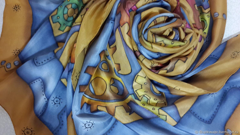 Silk scarf stole Steampunk Batik natural silk, Scarves, Moscow,  Фото №1