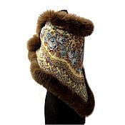 Одежда handmade. Livemaster - original item Pavlovo Posad shawl with fur