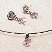 "Украшения handmade. Livemaster - original item Set necklace and earrings with Swarovski crystals ""Lavender"". Handmade."