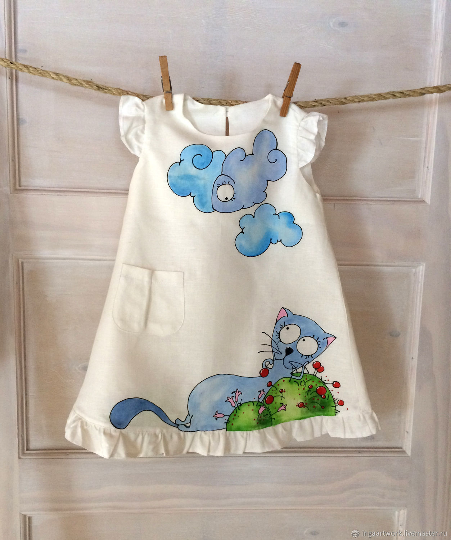 5003a7b7cb83 Clothes for Girls handmade. Livemaster - handmade. Buy Blue cat toddler  girl dress Painted ...