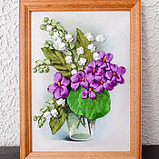 handmade. Livemaster - original item The picture is embroidered with ribbons Lilies of the valley and violets. Handmade.