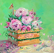 Картины и панно handmade. Livemaster - original item Oil painting on canvas. Roses in a box. Butterfly. Handmade.