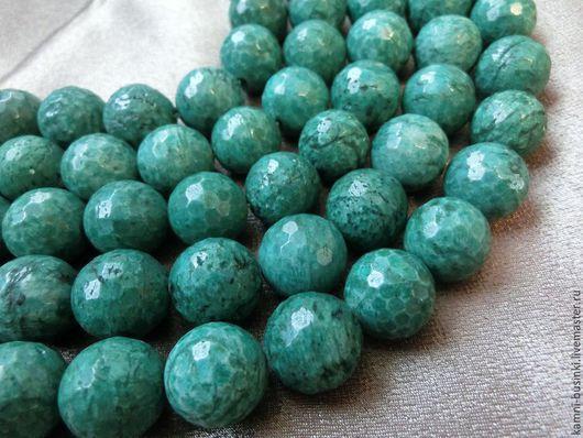 Амазонит бусина шар граненый зеленый. Бусины амазонита для колье, амазонитовые бусины шары для браслетов, голубой амазонит бусины для серег.