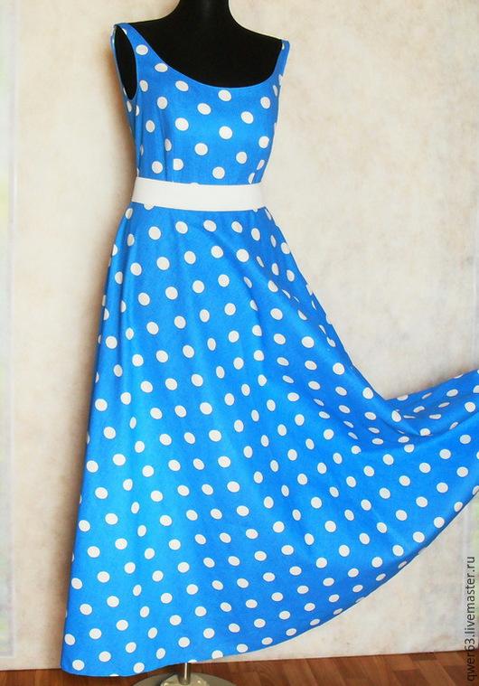 Платья ручной работы. Ярмарка Мастеров - ручная работа. Купить Платье,размер 46,длинное,в пол,из хлопка,в горох. Handmade.