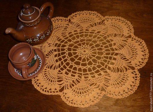 Текстиль, ковры ручной работы. Ярмарка Мастеров - ручная работа. Купить Салфетка оранжевая. Handmade. Салфетка, салфетка ажурная