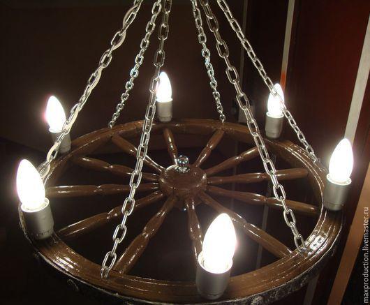 Освещение ручной работы. Ярмарка Мастеров - ручная работа. Купить Люстра из колеса в стиле кантри. Handmade. Коричневый, старое колесо