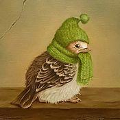 """Картины и панно ручной работы. Ярмарка Мастеров - ручная работа """"Птичка в шапочке """", холст/ масло, 15х20. Handmade."""
