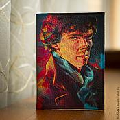 """Сувениры и подарки ручной работы. Ярмарка Мастеров - ручная работа Кожаная обложка для паспорта """"Шерлок Холмс"""".. Handmade."""