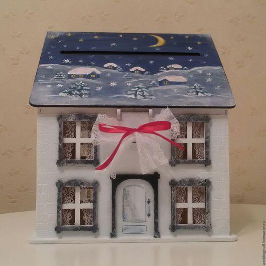 Копилки ручной работы. Ярмарка Мастеров - ручная работа. Купить Новогодний домик. Handmade. Тёмно-синий, домик, новогодний сувенир
