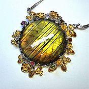 handmade. Livemaster - original item Full moon Garden necklace with olive Labrador. Handmade.