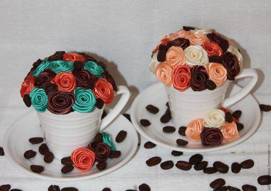 """Интерьерные композиции ручной работы. Ярмарка Мастеров - ручная работа. Купить """"Кофе вдвоем""""- Композиции в кофейной паре из цветов ручной работы. Handmade."""