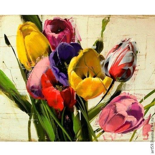 """Картины цветов ручной работы. Ярмарка Мастеров - ручная работа. Купить """" Цветы в теплой гамме"""". Handmade. Подарок"""